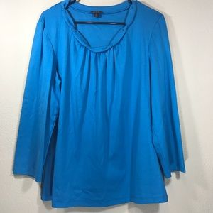 Blue Ruched longsleeve career work blouse top